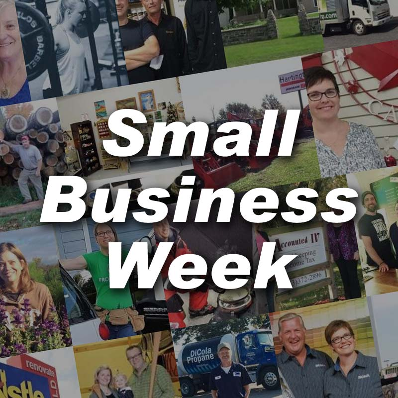 small business week collage text