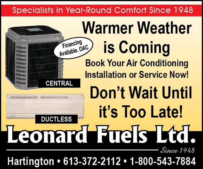 Warm weather is coming. Book your air conditioning installation or service now with Leonard Fuels.