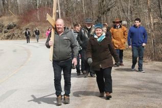 A large group reenacted Christ's Passion Walk from Matsons' Farm to the United Church in Arden on Good Friday, a distance of nearly 3 kilometres. Photo/Craig Bakay