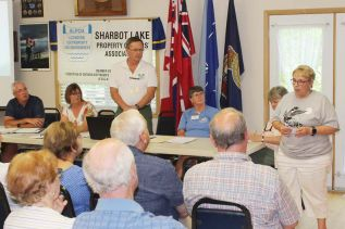 Central Frontenac Mayor Frances Smith had the audience's attention on several topics at the annual Sharbot Lake Property Owners Association meeting Saturday in Sharbot Lake. Photo/Craig Bakay