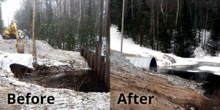 Dead Dreek culvert before (left) and after (right)