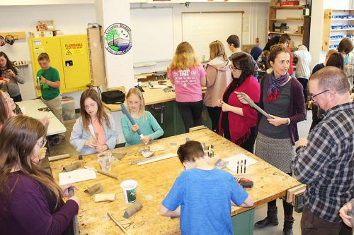The flute-making workshop was a hive of activity, under the watchful eyes of teacher Julia Schall and consultant Jeff Petznick.