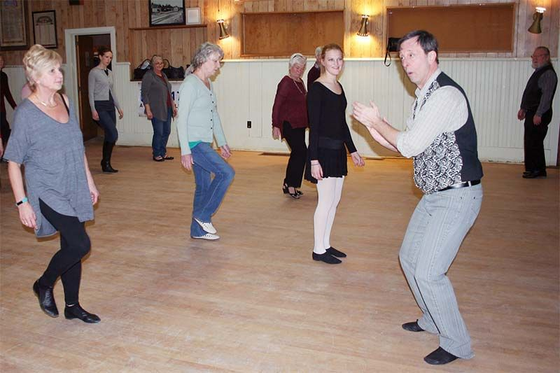 "Instructor Tim White goes through the basic movements and ""knowing where your feet are"" in the inaugural session of Oso Recreation Ballroom Dance in Sharbot Lake last Friday night."