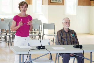 Friends of the Salmon River president Susan Moore and founder/ resident environmental scientist Gray Merriam addressing Central Frontenac Council last week. Photo/Craig Bakay