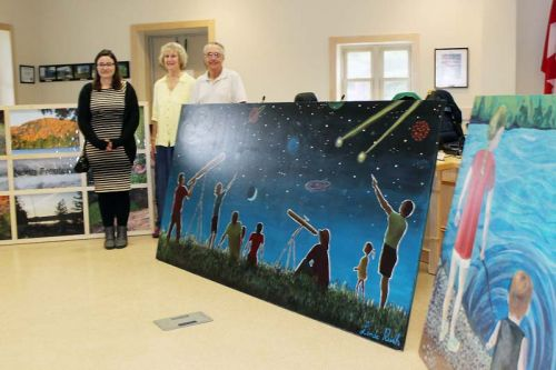 New murals by Christina Faiers, Linda Rush and Richard Emery were unveiled at the North Frontenac Council meeting last Friday. A fourth mural, by Kayla Newman, wasn't quite ready for the unveiling. Photo/Craig Bakay