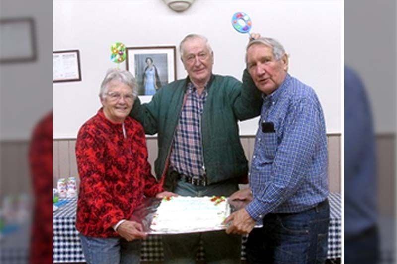 Susan Munro, Gordon Patterson & Walter Downs - 3 active Maberly Fair Board members who turned 80 this year