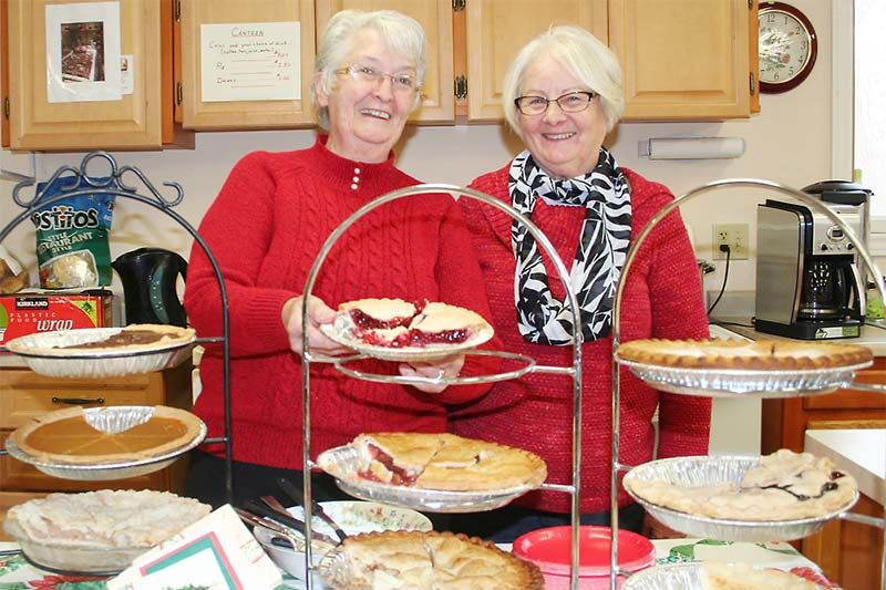 Faye Barr and Lorraine Johnston welcomed visitors to Perth Road for a pie and chili lunch as well as the opportunity to buy a few crafts. Photo/Craig Bakay