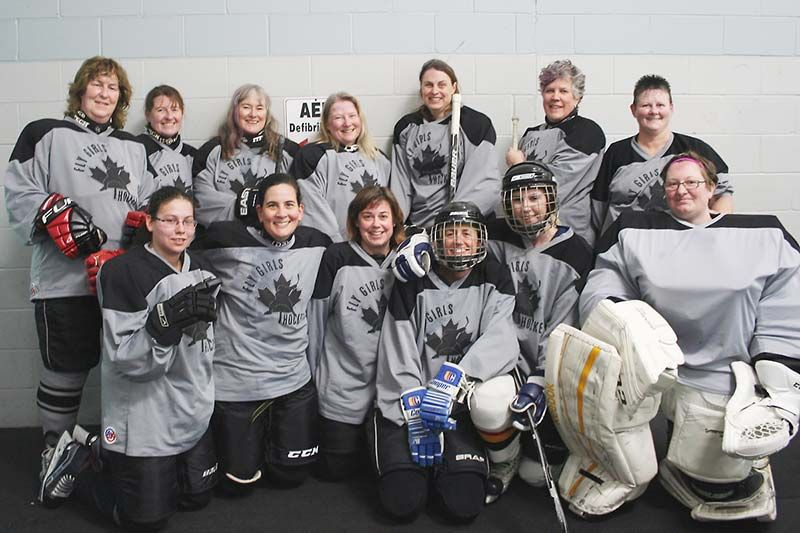 The latest incarnation of the Frontenac Fly Girls, a women's Sunday hockey group that's been going for 17 years. Photo/Craig Bakay