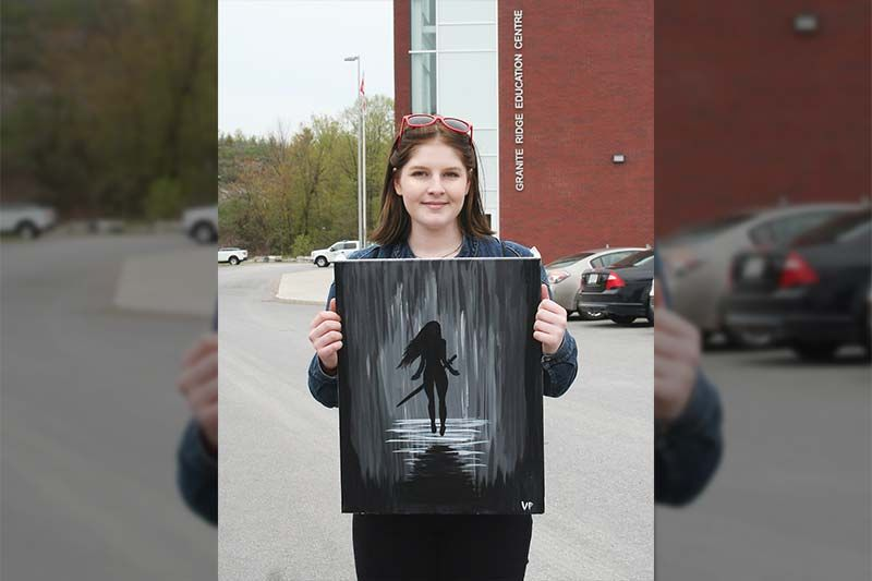 Vanessa Pagniello-Renfrey sold her acrylic on canvas, The Warrior, at GREC's first ever Expo Tuesday in Sharbot Lake. Photo/Craig Bakay