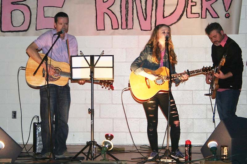 Abby Stewart rocked Prince Charles Public School last week for Pink Shirt Day with help from Shaun Weima (guitar) and Lee Casement (bass). Photo/Craig Bakay
