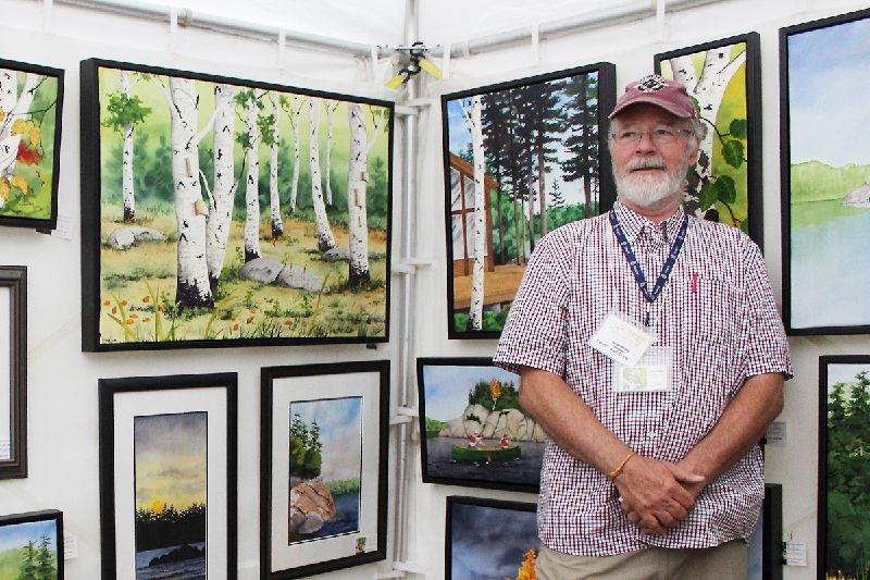 Acton artist Dave Gordon has a unique way with opaque watercolors. Photo/Craig Bakay