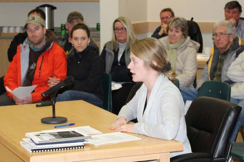 Planner Megan Rueckwald, manager of community planning, County of Frontenac, gives her report on the Palmerston Lake Science Area of Natural and Scientific Interest at the regular North Frontenac Council meeting last Friday. Photo/Craig Bakay