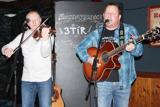 Shawn McCullough, backed by Wade Foster on fiddle, entertained a sold-out audience at The Crossing Pub in Sharbot Lake Saturday night. East Pointers come to The Crossing Feb. 13