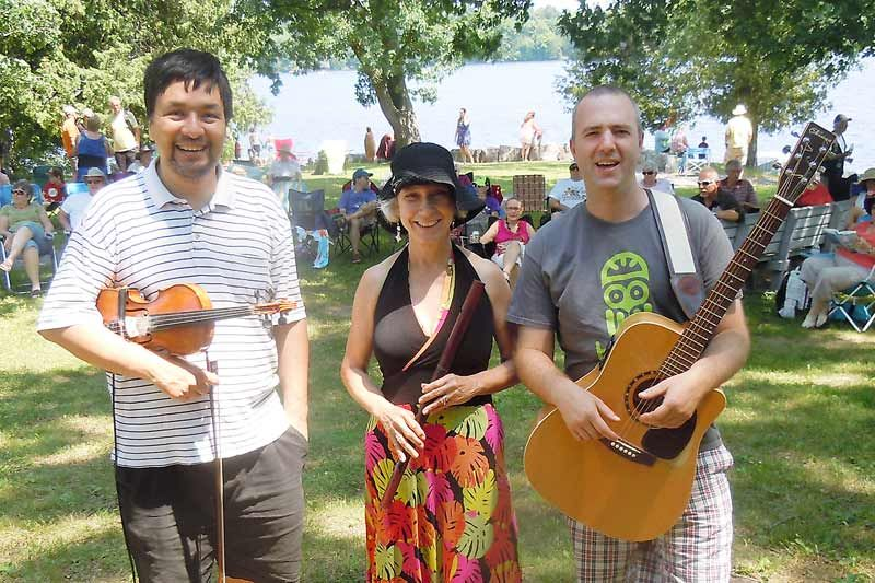 l-r, Ted Hzu, Anne Archer, Andrew Vanhorn performed in the first concert of the VCA's free summer concert series that take place at McMullen beach in Verona