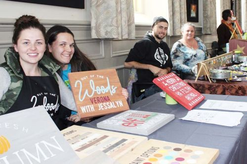 "Jessalyn Wagar and Morgan Menard of Out of the Woods Verona and Matthew Crossman and Andrea Potter (""a mother-son team"") of The Glass Shack in Elginburg were two new vendors at the Sydenham Women's Institute craft and bake sale Saturday at the Grace Centre in Sydenham. Photo/Craig Bakay"