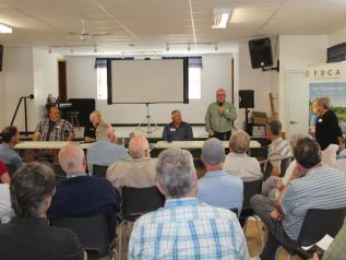 The panel discussion included (from left) Eric Kohlsmith, inspector with the Mississippi Rideau Septic System Office, North Frontenac Mayor Ron Higgins, Terry Kennedy of the Kennebec Lake Association and Gord Mitchell of KFL&A Public Health. Photo/Craig Bakay