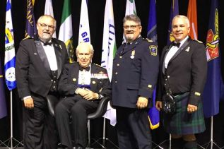 L-r: Paul Charbonneau, Honorary Lieutenant General Richard Rohmer, Todd Fisher and David Gemmill