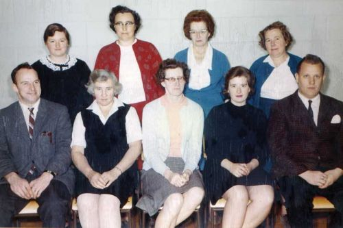 Staff of HPS 1966-67.Back row, l-r, Mrs. Mary Peters, Mrs. Mary Cronk, Mrs. Ellen Coulter and Mrs. Doreen Howes. Front row l-r, Mr. William Sproule, Mrs. Ethel Snider, Mrs. Ila Cronk, Mrs. Dawn Hansen and Mr. Maurice Lowery