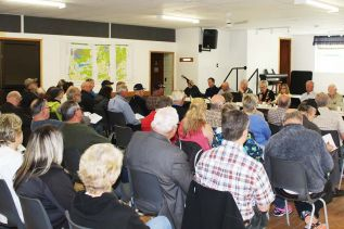 The public meeting last Friday on North Frontenac's new Zoning Bylaw drew a considerable crowd to the Clar-Mill Hall in Plevna. Photo/Craig Bakay