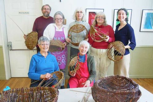 Brooke Valley basket weaver Maike Polano instructs a workshop in Irish Ulster potato basket weaving at MERA