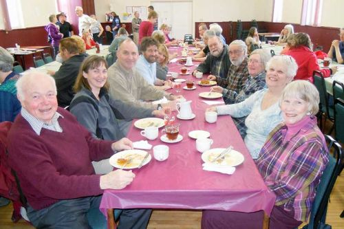 Diners enjoy a pancake brunch at the Maberly Agricultural Society's annual fundraiser at the Maberly hall on April 18