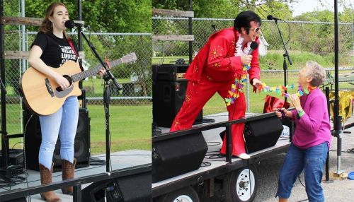 Left: Up and comer Courtney Kane led off the musical portion of the weekend with an assortment of country tunes. Photo/Craig Bakay – Right: Dan Stoness brought his Elvis show to the stage, much to the delight of Inverary Youth Activity Group treasurer Judy Borovskis. Photo/Craig Bakay