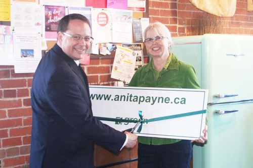 Mike Schreiner helps LFK candidate Anita Payne kick off her election campaign