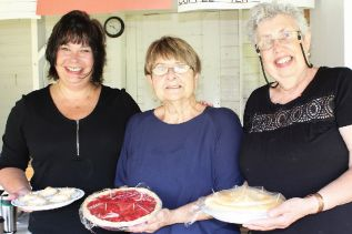 The pie part of Pie in the Sky — Tammy Duffy, Anne Thomlison and Rosetta McInnes with their wares. Photo/Craig Bakay