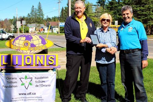 Hastings-Lennox & Addington MPP Daryl Kramp, Ontario Trillium Foundation representative Shirley Van Steen and Northbrook Lions President Kerry Skipper celebrate the renovations at the Northbrook Hall. Photo/Craig Bakay