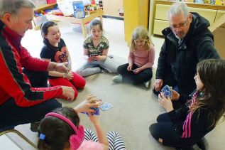Grandparents joined with students in traditional games to make math fun at Prince Charles Public School. Photo/submitted