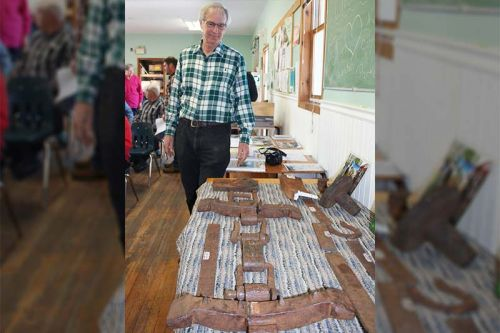 Steve Manders with some of the artifacts from the Gilmour Tramway he's found. Photo/Craig Bakay