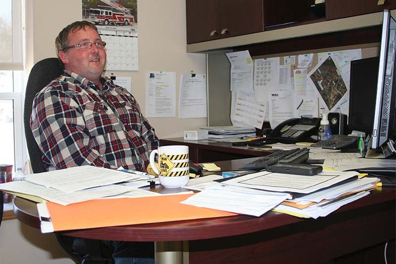 Central Frontenac Public Works Manager Brad Thake in his new office in Sharbot Lake. Photo/Craig Bakay