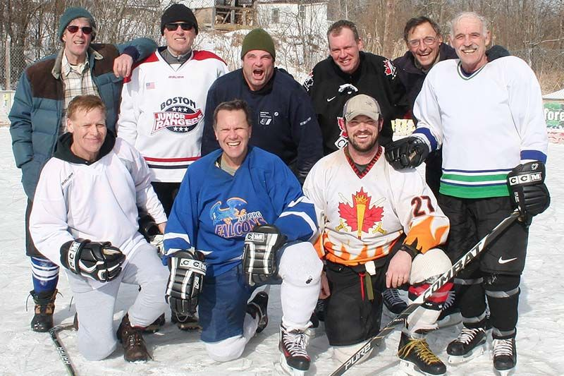 It was probably more shinny than hockey but this band of fundraisers seemed to be enjoying themselves Saturday at the Tichborne Rink. Photo/Craig Bakay