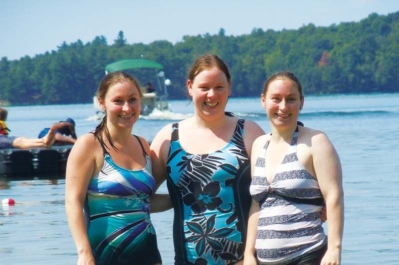 Becki, Theresa and Katie after their swim in 2014 (file photo)