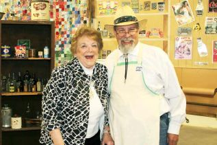 Guest speaker Mary Cook and 'storekeeper' Larry Leeson, photo Katie Ohlke