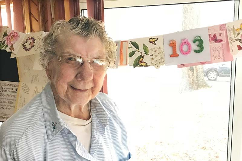Leeanne White in Ompah to mark her 103rd