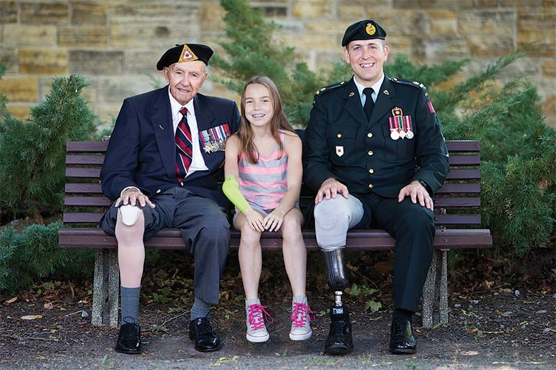 Since 1918, The War Amps has met the needs of war amputees. Today, the Association continues to serve them, and all amputees, including children like Leah (centre).