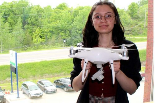 Drone pilot Ryleigh Rioux will be breaking new ground this summer, working for North Frontenac Township on Malcolm and Ardoch Lakes to monitor the Eurasian milfoil infestation. Photo/Craig Bakay