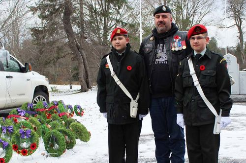 Retired Master Corporal Don Quirion, from Arden took an opportunity to get a picture with sons Joshua and Daniel, both cadets with the Hastings-Prince Edward regiment in Madoc. The boys were part of the colour party for the Flinton ceremony on Saturday as well as Arden and Mountain Grove.