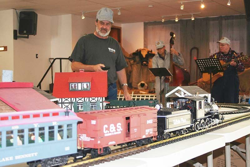 Franco Balestro's model train set up doubled for the K & P as CMCA held its Mystery History Tour Saturday in Plevna. Photo/Craig Bakay