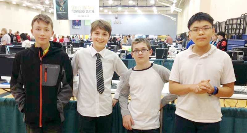 Kayden Snider, Bradley Kavanaugh-Sweeny, Bryce Runions and David Chen competed in the Elementary Team of Four- 2D Animation competition