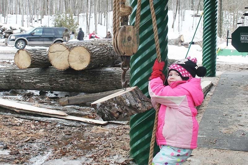 Amélie St. Denis found the block and tackle to her liking at the Matson Logging Camp last Sunday.