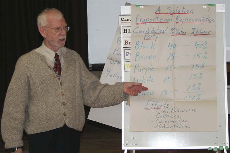 Norm Hart explains one version of proportional representation at a discussion group last week in Sharbot Lake. Photo/Craig Bakay