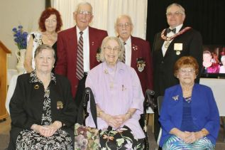 Visiting dignitaries from the Sovereign Grand Lodge and Rebekah Assembly of Ontario, Sister Sue Guerts, Past President and Brother Jim Broadfoot, Grand Master took a minute to pose with longserving local members Howard Fellows and Howard Wagner (51 years each), Frances Young (57  years), June Carruthers (75 years) and Barb Garrison (50 years).