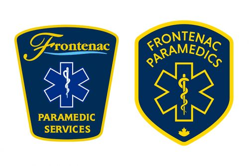 Old Frontenac Paramedics crest (left) and new (right) - subtle change designed to focus on the human side of paramedicine